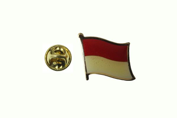MONACO NATIONAL COUNTRY FLAG METAL LAPEL PIN BADGE .. 3/4 X 3/4 INCH .. NEW