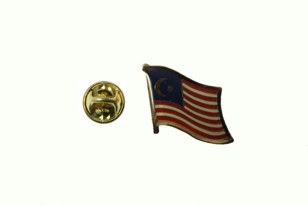 MALAYSIA NATIONAL COUNTRY FLAG METAL LAPEL PIN BADGE .. 3/4 X 3/4 INCH . NEW
