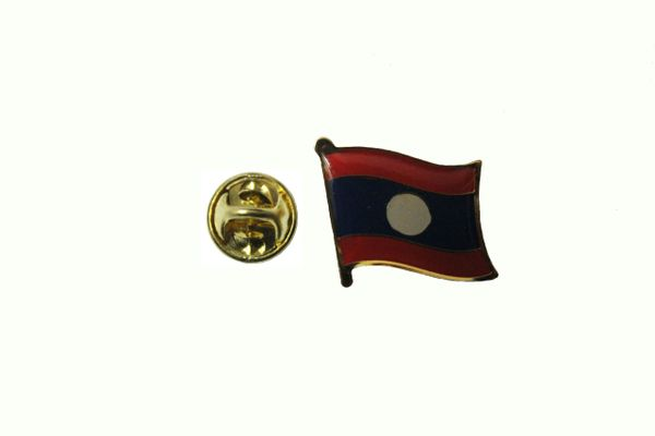 LAOS NEW COUNTRY FLAG METAL LAPEL PIN BADGE ... 3/4 X 3/4 INCH .. NEW