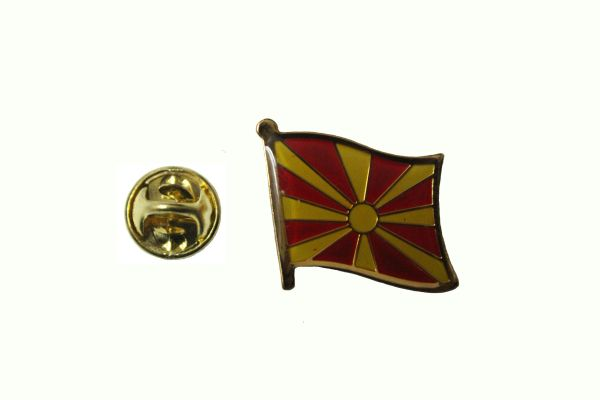 MACEDONIA NEW NATIONAL COUNTRY FLAG METAL LAPEL PIN BADGE .. 3/4 X 3/4 INCH .. NEW