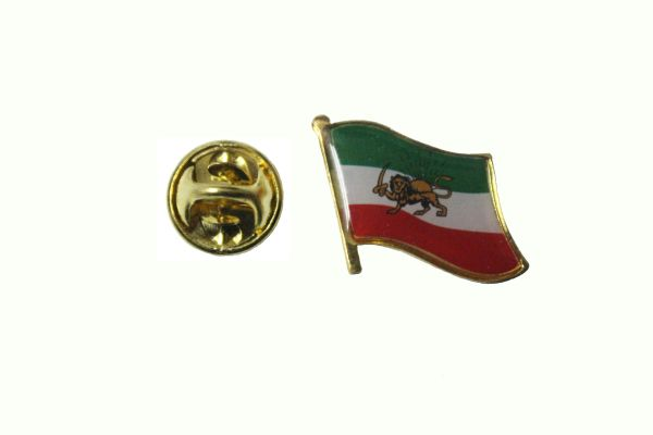 IRAN PERSIAN OLD NATIONAL COUNTRY FLAG METAL LAPEL PIN BADGE .. 3/4 X 3/4 INCH .. NEW