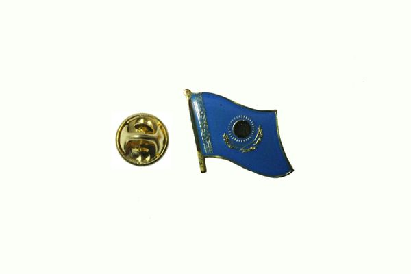 KAZAKHSTAN NATIONAL COUNTRY FLAG METAL LAPEL PIN BADGE .. 1/2 X 1/2 INCH .. NEW