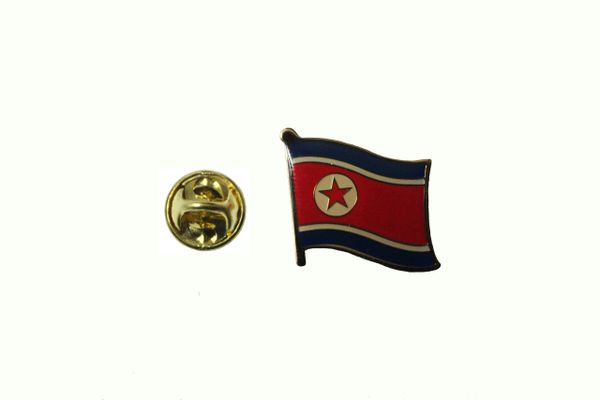 NORTH KOREA NATIONAL COUNTRY FLAG METAL LAPEL PIN BADGE .. 3/4 X 3/4 INCH .. NEW