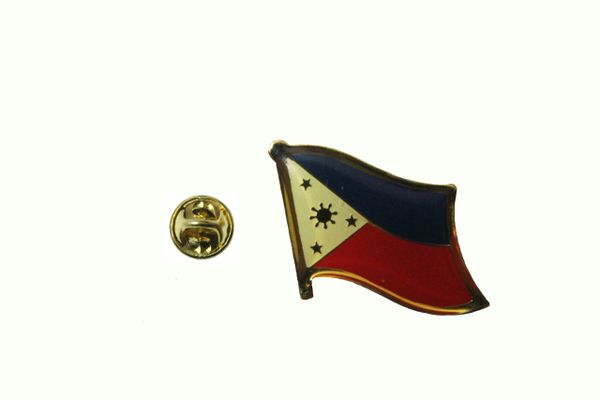 PHILIPPINES NATIONAL COUNTRY FLAG METAL LAPEL PIN BADGE .. 3/4 X 3/4 INCH .. NEW