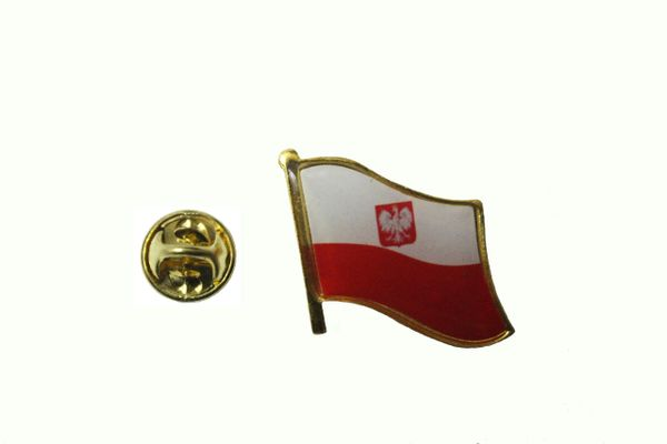 POLAND WITH EAGLE POLSKA NATIONAL COUNTRY FLAG METAL LAPEL PIN BADGE .. 3/4 X 3/4 INCH .. NEW