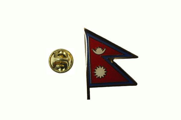 NEPAL NATIONAL COUNTRY FLAG METAL LAPEL PIN BADGE ... 1 X 3/4 INCH .. NEW