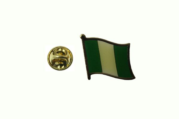 NIGERIA NATIONAL COUNTRY FLAG METAL LAPEL PIN BADGE ... 3/4 X 3/4 INCH .. NEW