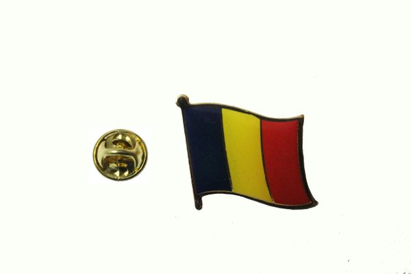 ROMANIA NATIONAL COUNTRY FLAG METAL LAPEL PIN BADGE .. 3/4 X 3/4 INCH .. NEW