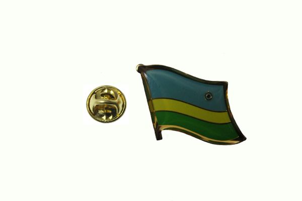 RWANDA NATIONAL COUNTRY FLAG METAL PIN BADGE .. 3/4 X 3/4 INCH .. NEW