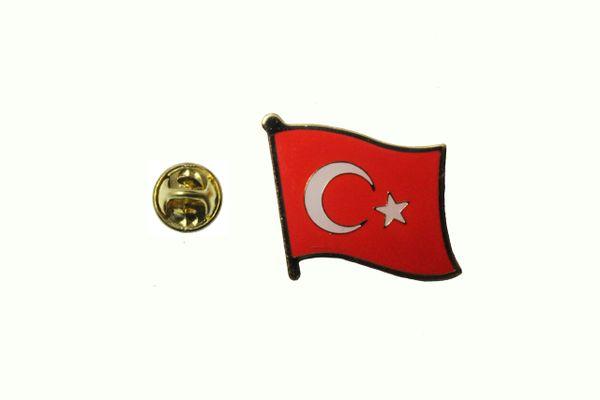 TURKEY TURKIYE NATIONAL COUNTRY FLAG METAL PIN BADGE .. 3/4 X 3/4 INCH .. NEW