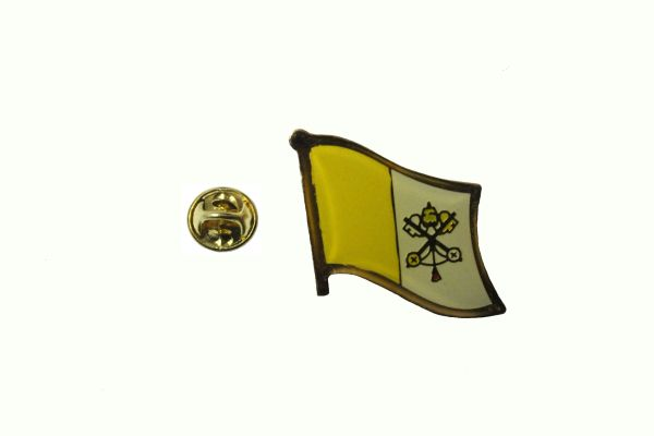 VATICAN CITY POPAL NATIONAL COUNTRY FLAG METAL LAPEL PIN BADGE .. 3/4 X 3/4 INCH .. NEW
