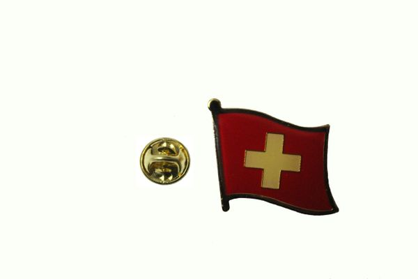 SWITZERLAND SUISSE NATIONAL COUNTRY FLAG METAL LAPEL PIN BADGE .. 3/4 X 3/4 .. NEW