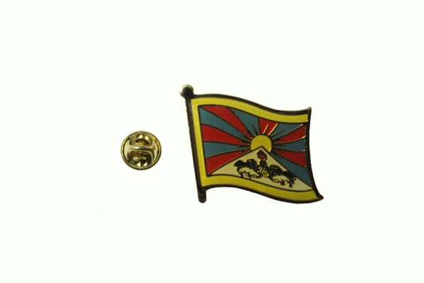 TIBET COUNTRY FLAG METAL LAPEL PIN BADGE .. 3/4 X 3/4 INCH .. NEW