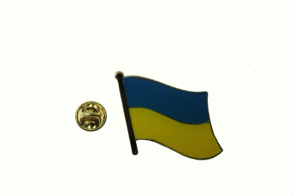 UKRAINE PLAIN NATIONAL COUNTRY FLAG METAL LAPEL PIN BADGE .. 3/4X 3/4 INCH .. NEW