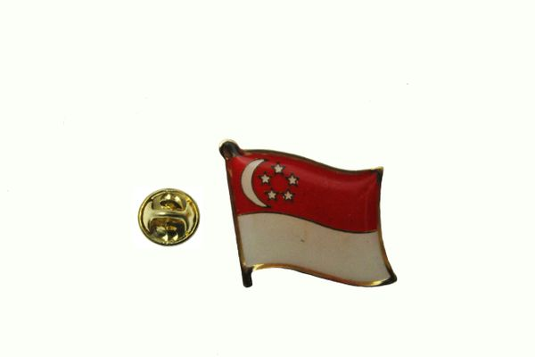 SINGAPORE NATIONAL COUNTRY FLAG METAL LAPEL PIN BADGE .. 3/4 X 3/4 INCH ..NEW