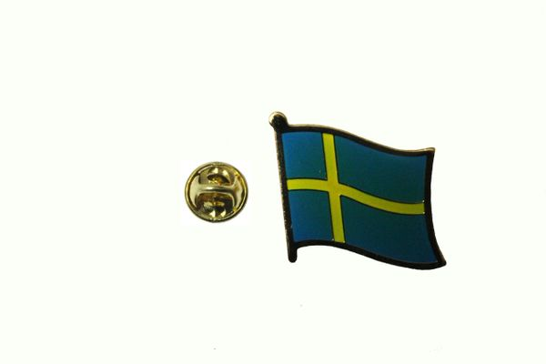 SWEDEN NATIONAL COUNTRY FLAG METAL LAPEL PIN BADGE .. 3/4 X 3/4 INCH .. NEW