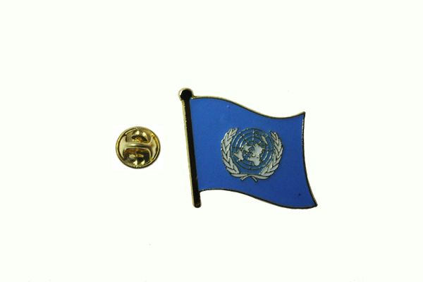 UNITED NATIONS FLAG METAL LAPEL PIN BADGE .. 3/4 X 3/4 INCH .. NEW