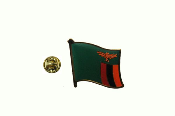 ZAMBIA NATIONAL COUNTRY FLAG METAL LAPEL PIN BADGE .. 3/4 X 3/4 INCH .. NEW