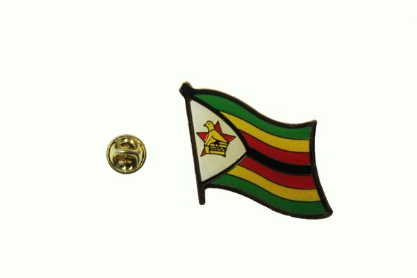 ZIMBABWE NATIONAL COUNTRY FLAG METAL LAPEL PIN BADGE .. 3/4 X 3/4 INCH .. NEW