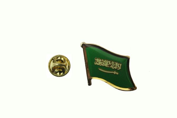 SAUDI ARABIA NATIONAL COUNTRY FLAG METAL PIN BADGE .. 3/4 X 3/4 INCH .. NEW