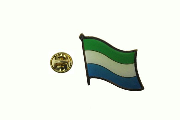 SIERRA LEONE NATIONAL COUNTRY FLAG METAL LAPEL PIN .. 3/4 X 3/4 INCH .. NEW