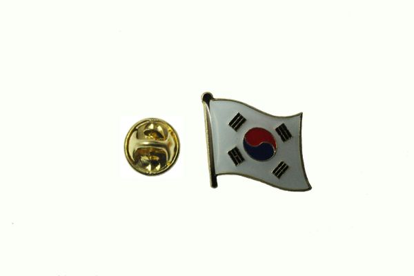 SOUTH KOREA NATIONAL COUNTRY FLAG METAL LAPEL PIN BADGE ... 3/4 X 3/4 INCH .. NEW