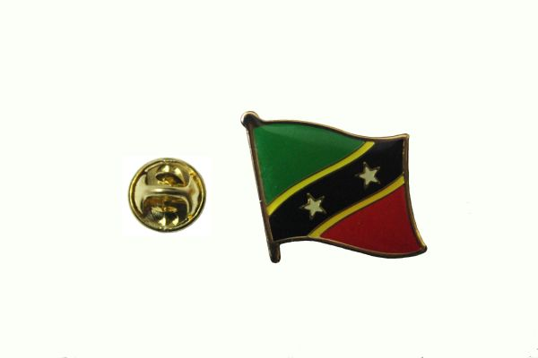 ST KITTS $ NEVIS NATIONAL COUNTRY FLAG METAL LAPEL PIN BADGE .. 3/4 X 3/4 INCH .. NEW