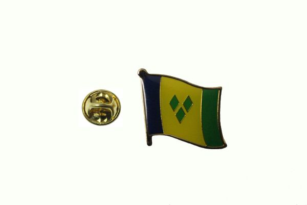 ST VINCENT & THE GRENADINES NATIONAL COUNTRY FLAG METAL LAPEL PIN BADGE .. 3/4 X 3/4 INCH .. NEW