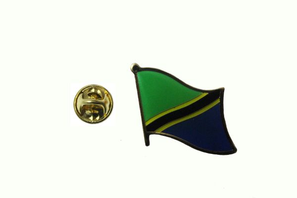 TANZANIA NATIONAL COUNTRY FLAG METAL LAPEL PIN BADGE .. 3/4 X 3/4 INCH . NEW