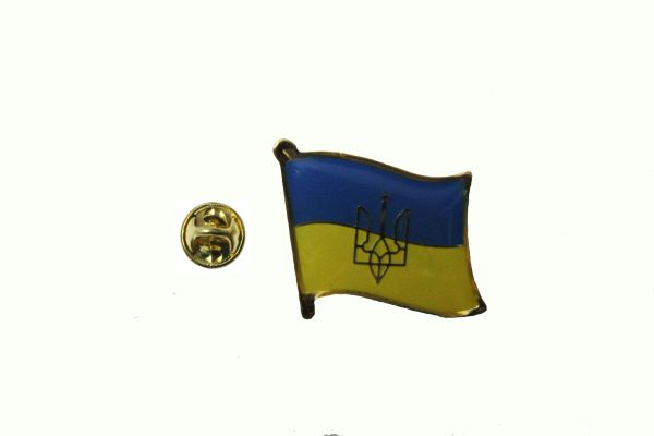 UKRAINE WITH TRIDENT NATIONAL COUNTRY FLAG METAL LAPEL PIN BADGE .. 3/4 X 3/4 INCH .. NEW