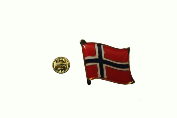 NORWAY COUNTRY FLAG METAL LAPEL PIN BADGE .. 3/4 X 3/4 INCH .. NEW