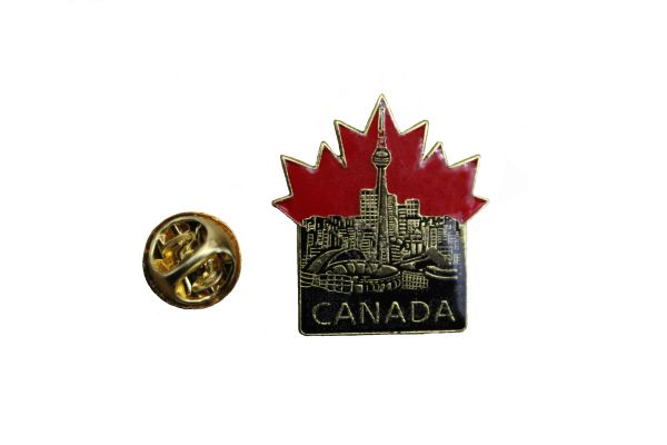 TORONTO CN TOWER IN CANADA MAPLE LEAF lapel pin with title... new