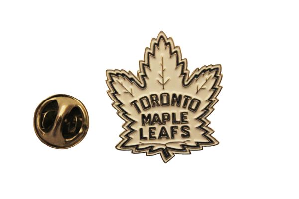 "MAPLE LEAFS New Logo White Metal LAPEL PIN BADGE..Size : 1"" x 1"" Inch ( 2.54 x 2.54 Cm )"