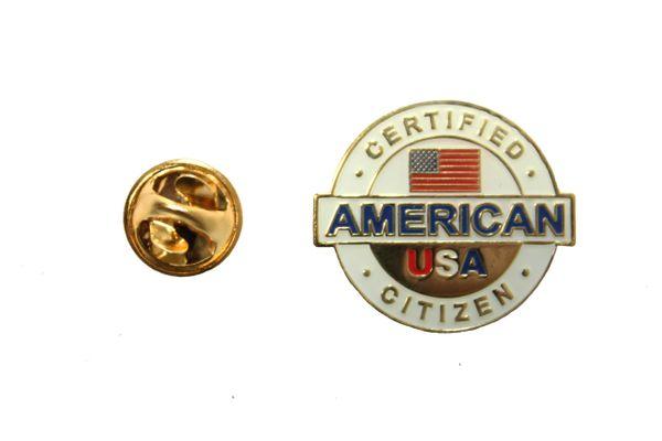 CERTIFIED AMERICAN CITIZEN USA Metal LAPEL PIN BADGE