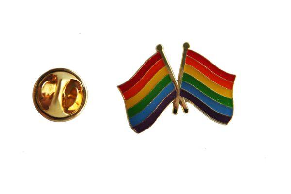 2 WAVING LGBTQ Gay & Lesbian Pride.. Flags Metal LAPEL PIN BADGE