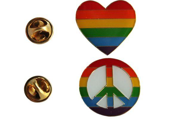 2 LGBTQ Gay & Lesbian ..Flag HEART Shape , PEACE Sign SET - Metal LAPEL PIN BADGES