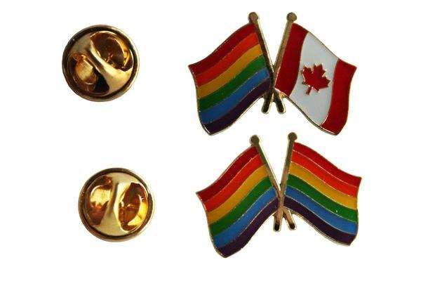 2 LGBTQ Gay & Lesbian ..Flag CANADA & PRIDE FRIENDSHIP SET - Metal LAPEL PIN BADGES