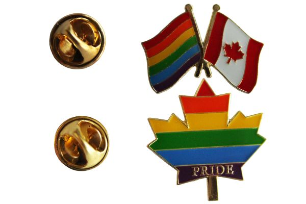 2 LGBTQ Gay & Lesbian ..Flag CANADA & PRIDE MAPLE LEAF SET - Metal LAPEL PIN BADGES