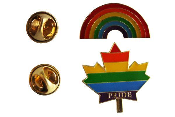 2 LGBTQ ..Flag RAINBOW & PRIDE MAPLE LEAF SET - Metal LAPEL PIN BADGES