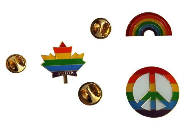3 LGBTQ ..Flag RAINBOW , PRIDE MAPLE LEAF , PEACE Sign SET - Metal LAPEL PIN BADGES