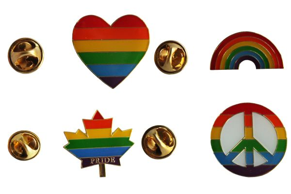 4 LGBTQ ..Flag HEART Shape , RAINBOW , PRIDE MAPLE LEAF , PEACE Sign SET - Metal LAPEL PIN BADGES