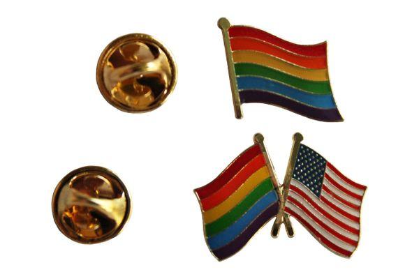 LGBTQ .. PRIDE & USA / PRIDE Friendship Flags Set - Metal LAPEL PIN BADGES