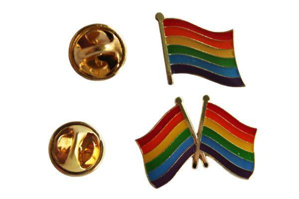 LGBTQ .. PRIDE & 2 PRIDE Waving Friendship Flags Set Metal LAPEL PIN BADGES