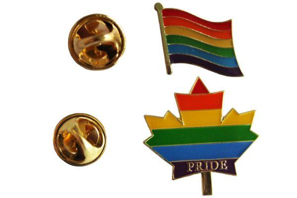 LGBTQ .. PRIDE & PRIDE MAPLE LEAF Flags Set Metal LAPEL PIN BADGES
