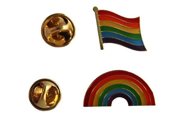 LGBTQ .. PRIDE & PRIDE RAINBOW Flags Set Metal LAPEL PIN BADGES
