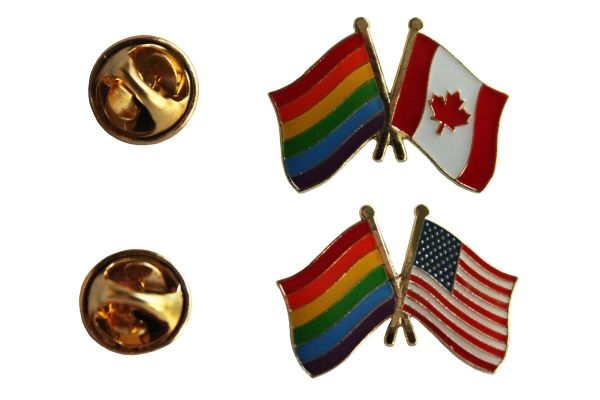 LGBTQ .. CANADA & USA Friendship Flags Set Metal LAPEL PIN BADGES