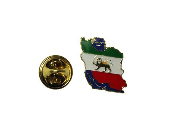 IRAN Country Shape PERSIAN LION Old Flag Metal LAPEL PIN BADGE