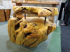 Yellow Cedar end table with Burl Top