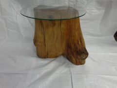 Arbutus End Table with Glass Top