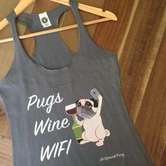 Pugs Wine Wifi (Racer Back - Women's)